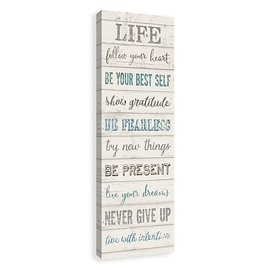 Artissimo Life Typography, Gallery Wrapped Canvas, 12W x 36H x 1.5D Wall Art
