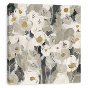 Artissimo Velvety Florals Neutral, Gallery Wrapped Canvas, 12W x 12H x 1.25D Wall Art