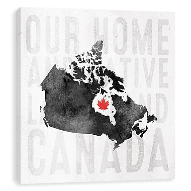 Artissimo Canada Map Black, Gallery Wrapped Canvas, 14W x 14H x 1.25D Wall Art