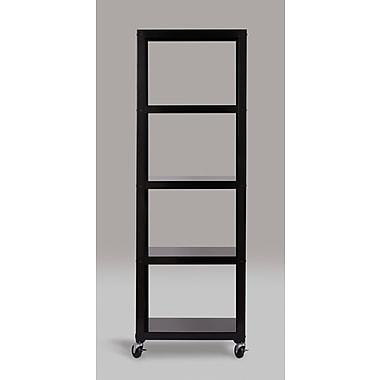 Hirsh – Bibliothèque industrielle mobile moderne à 5 tablettes, 72 po de hauteur, noir (21622)