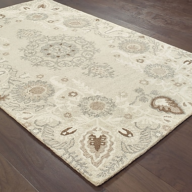 Darby Home Co Baddesley Hand-Hooked Wool Sand/Ash Area Rug; 8' X 10'