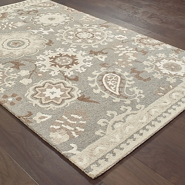 Darby Home Co Baddesley Blooming Gardens Hand-Hooked Wool Gray/Sand Area Rug; 10' X 13'