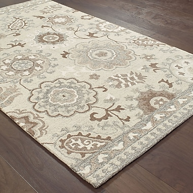 Darby Home Co Baddesley Blooming Gardens Hand-Hooked Wool Ivory Area Rug; 5' X 8'