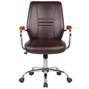 Orren Ellis Reyes Adjustable Mid-Back Executive Chair; Brown