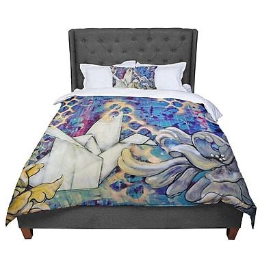 East Urban Home Kira Crees Peonies and Crane Comforter; Queen