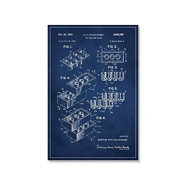 17 Stories 'Lego Patent' Graphic Art Print on Canvas in Blue; 36'' H x 24'' W