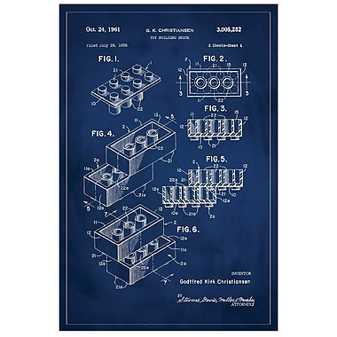 17 Stories 'Lego Patent' Graphic Art Print in Blue; 36'' H x 24'' W
