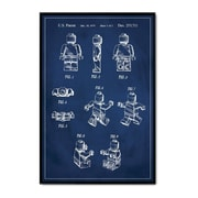 17 Stories 'Lego Man Patent' Framed Graphic Art Print on Canvas in Blue; 36'' H x 24'' W