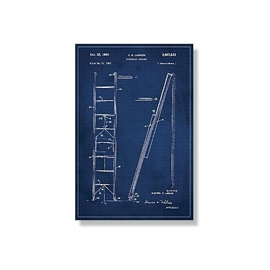 17 Stories 'Ladder Patent' Graphic Art Print on Canvas in Blue; 18'' H x 12'' W
