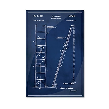 17 Stories 'Ladder Patent' Graphic Art Print on Metal in Blue; 24'' H x 16'' W