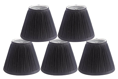 Winston Porter Pleat 6'' Silk Empire Lamp Shade (Set of 5); Black
