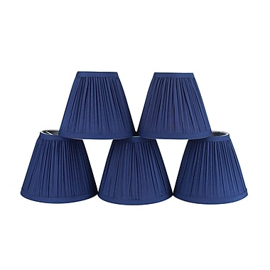 Winston Porter Pleat 6'' Cotton Empire Candelabra Shade (Set of 5) (Set of 5); Navy Blue