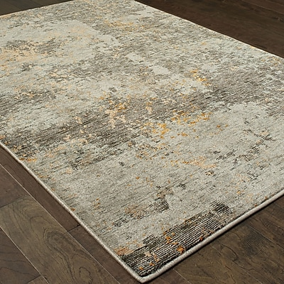Williston Forge Knox Marbled Stone Gray/Gold Area Rug; 5'3'' x 7'3''