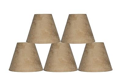 Ebern Designs 5 Piece 6'' Suede Empire Lamp Shade (Set of 5); Tan
