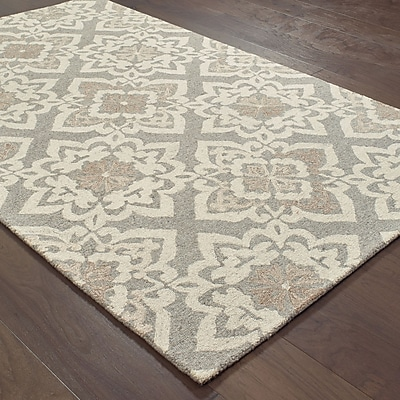One Allium Way Alys Hand-Hooked Wool Gray Area Rug; 5' X 8'