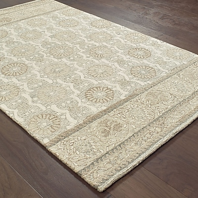 Darby Home Co Baddesley Blooms Hand-Hooked Wool Ash Area Rug; 8' X 10'