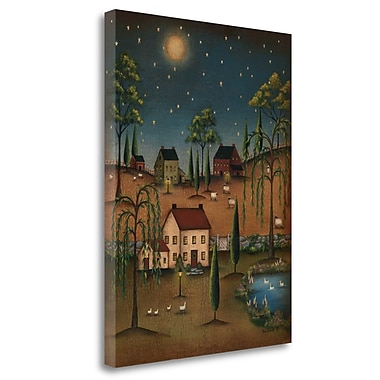 Red Barrel Studio 'Village Full Moon' Graphic Art Print on Wrapped Canvas; 26'' H x 20'' W
