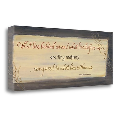 Red Barrel Studio 'What Lies Behind Us' Textual Art on Wrapped Canvas; 13'' H x 32'' W