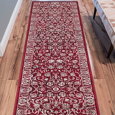Charlton Home Abramowitz Red Area Rug; Runner 2'7'' x 9'10''