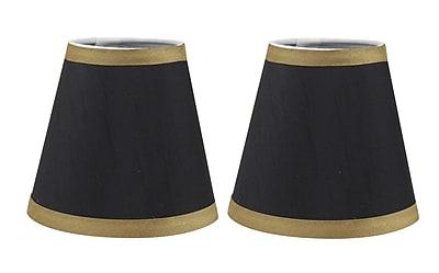 Mercer41 5'' Silk Empire Candelabra Shade w/ Trim (Set of 2); Black