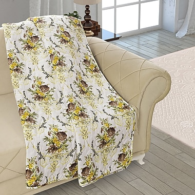 August Grove Beauville Double Sided Multi Use Reversible Summer Bouquet Quilt Blanket; White/Yellow