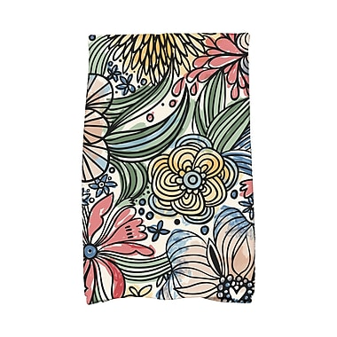 East Urban Home Zentangle Floral Print Hand Towel; Red