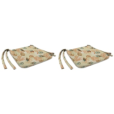 Highland Dunes Indoor Chair Cushion w/ Knife Edge (Set of 2); Shall We Dance Sandcastle