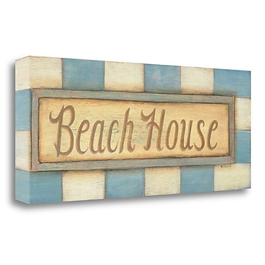 Highland Dunes 'Beach House' Textual Art on Wrapped Canvas; 13'' H x 32'' W