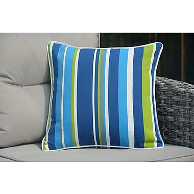 Red Barrel Studio Beckett Square Zippered Striped Outdoor Throw Pillow