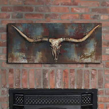 Union Rustic 'Long Horn' Painting Print on Metal
