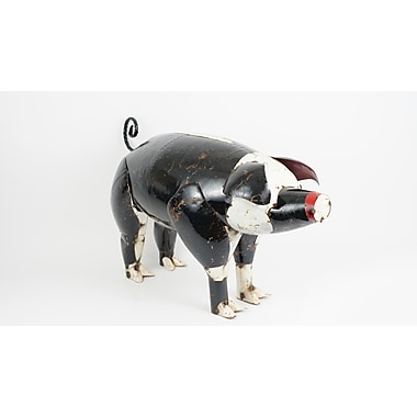 August Grove Emmaline The Black And White Pig Figurine