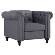 Alcott Hill Jemima Chesterfield Chair; Dark Gray