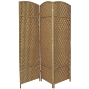 Bay Isle Home Waynefleet 71'' x 58.5'' Tall Diamond Weave Fiber 3 Panel Room Divider; Natural