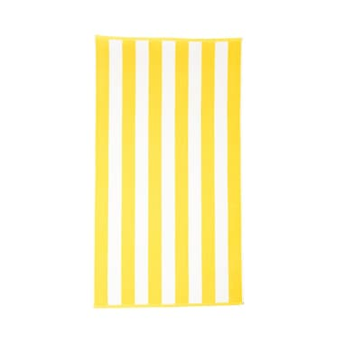 Highland Dunes Stripe Cotton Beach Towel; Lemon