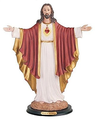 Astoria Grand Sacred Heart of Jesus Ceramic Sculpture; Arms Open
