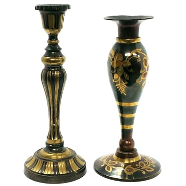 Bloomsbury Market Floral and Striped Decorative 2 Piece Metal Candlestick Set