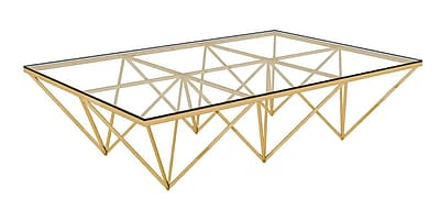 Everly Quinn Bertram Modern Polished Metal/Glass Coffee Table