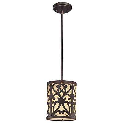 Fleur De Lis Living Aegean 1-Light Mini Pendant; Iron Oxide