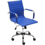 Ebern Designs Kaylin Leather Desk Chair; Blue