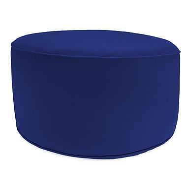 Highland Dunes Zoila Round Pouf Ottoman; Cobalt Blue