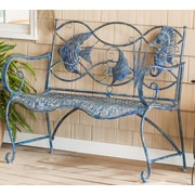 Highland Dunes Brynne Blue Fish Metal Garden Bench