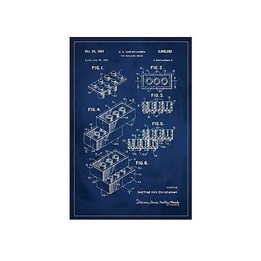 17 Stories 'Lego Patent' Graphic Art Print in Blue; 18'' H x 12'' W