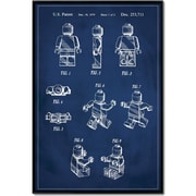 17 Stories 'Lego Man Patent' Framed Graphic Art Print on Canvas in Blue; 48'' H x 32'' W