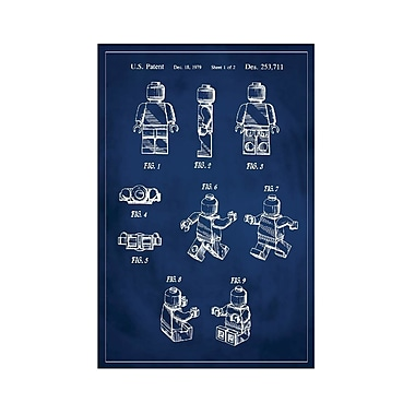 17 Stories 'Lego Man Patent' Graphic Art Print in Blue; 24'' H x 16'' W