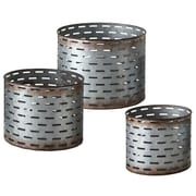 CBK Outdoor Living Round Galvanized Slot 3 Piece Pot Planter Set