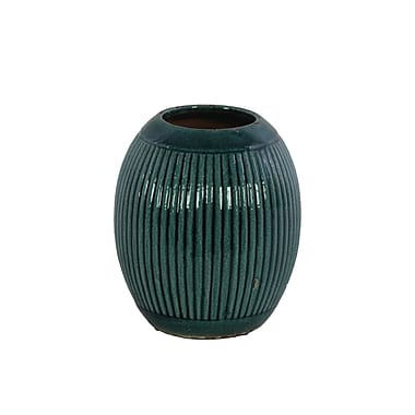 Bungalow Rose Ceramic Round Ribbed Table Vase; 7.5'' H x 6.25'' W x 6.25'' D