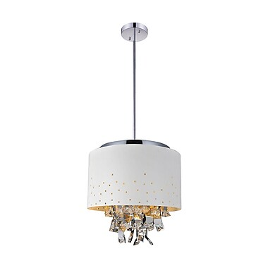 CrystalWorld Carmella 5-Light Drum Chandelier; White