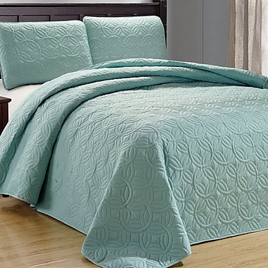 Darby Home Co Minta 3 Piece Reversible Quilt Set; Spa Green