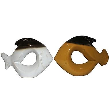Highland Dunes Modern Ceramic Fish Figurine (Set of 2)
