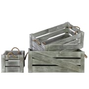 Longshore Tides Wood 3 Piece Crate Set; Weathered Wood Gray